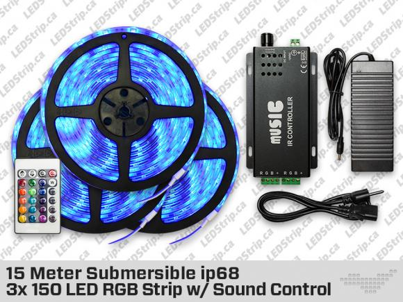 15 Meter 3x 150 ip68 Submersible LED RGB Strip with Sound Control