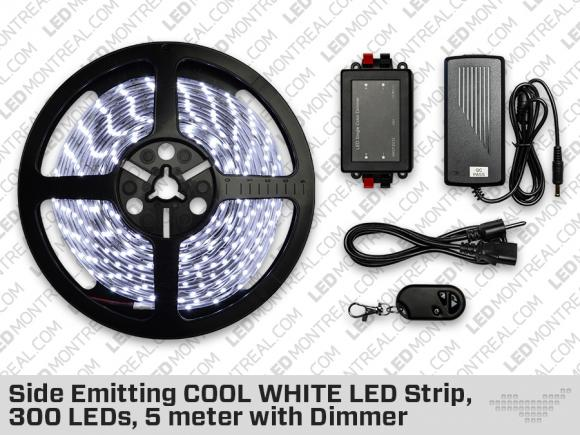 Side Emitting Single Color COOL WHITE LED Strip, 300 LEDs, 5 meter with Dimmer