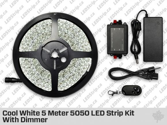 Epistar Cool White 5 Meter 5050 LED Strip kit with Dimmer