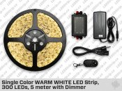 Single Color WARM WHITE LED Strip, 300 LEDs, 5 meter with Dimmer