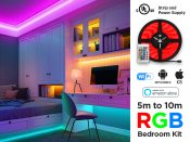 24V RGB LED strip kit for bedroom with IR and WIFI control (5 to 10m, 30 LED/m)