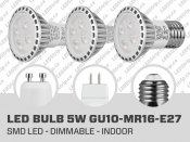 5W Dimmable SMD LED Bulb (GU10 MR16 E27)