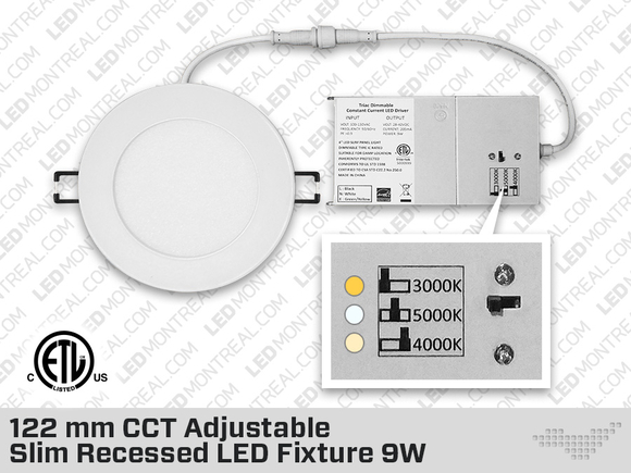 120 mm CCT Adjustable Slim Recessed LED Fixture 9W