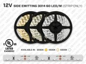 12V 5m iP20 3014 Side Emitting Single Color LED Strip - 60 LEDs/m (Strip Only)