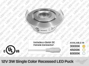 12V 3W Single Color Professional Grade 50mm Recessed  LED Puck