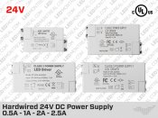 24V DC UL Listed Hardwired Compact LED Driver 0.5A (12W) to 2.5A (60W)