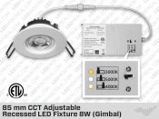 85mm CCT Adjustable Recessed LED Fixture 8W (Gimbal)